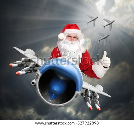 Air Force christmas greeting. Santa Claus or Ded Moroz (russian Santa) piloting jet fighter with missiles as a gifts for all enemies. Military holidays on the sky.