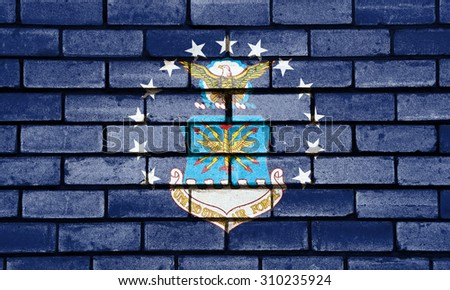 Air Force US flag painted on old brick wall texture background - stock photo