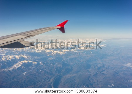 Air image above the snowy Pyrenees between France and Spain. It separates the Iberian Peninsula from the rest of continental Europe - stock photo