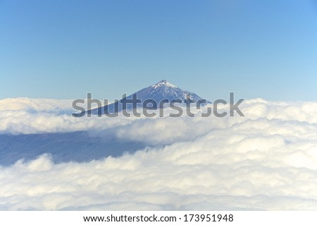 Air Image from the Volcano Pico de Teide on Tenerife. The Pico de Teide is the highest mountain in Spain and from its base on the ocean floor, it is the third highest volcano in the world - stock photo