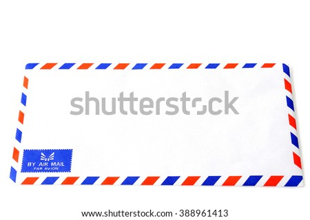 Air mail envelope on white background