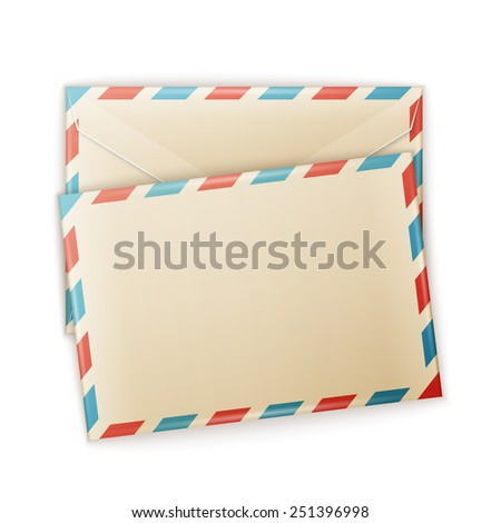 Air mail envelope with postal stamp isolated on white background. - stock photo