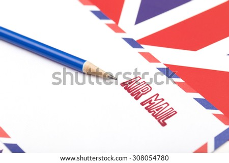 air mail stamped on the envelope - stock photo