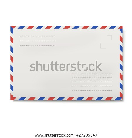 Air mail white envelope isolated on white