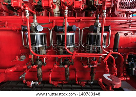 Air Operated Pump for Accumulator (Koomey Unit) Surface BOP Control System in Oil Drilling Rig - stock photo