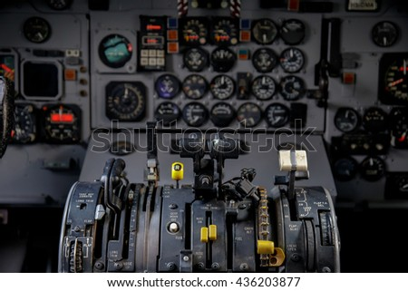 Air plan control stick in side pilot cockpit