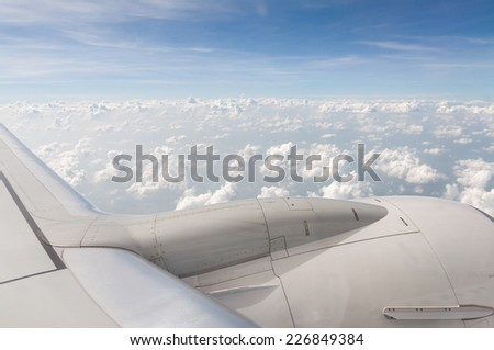 air plane and clouds