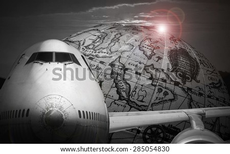 Air plane and old map background - stock photo