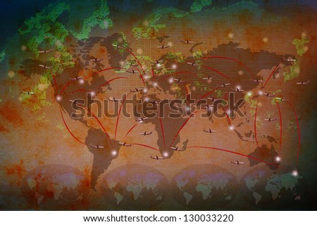air plane flying on classic red tone world map use for world destination background - stock photo