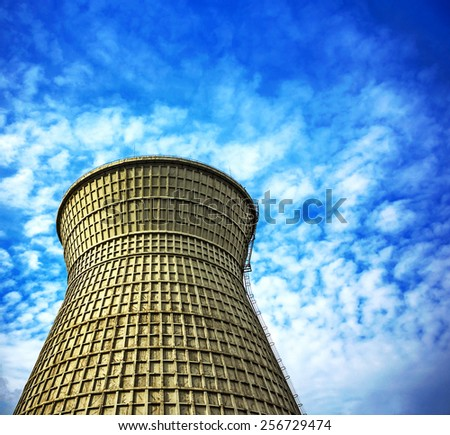 air polluting factory chimney - stock photo