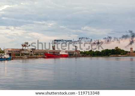 Air pollution from industrial plant. - stock photo
