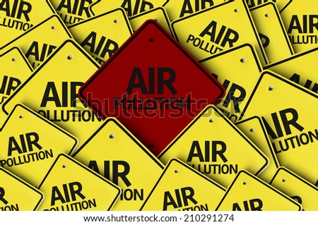 Air Pollution written on multiple road sign  - stock photo