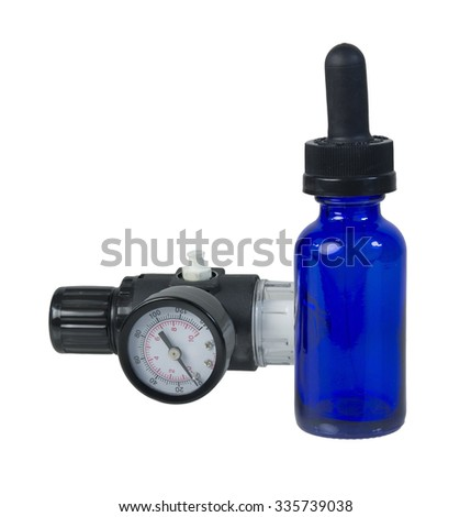 Air regulator on dropper bottle to show the pressure of medication - path included - stock photo