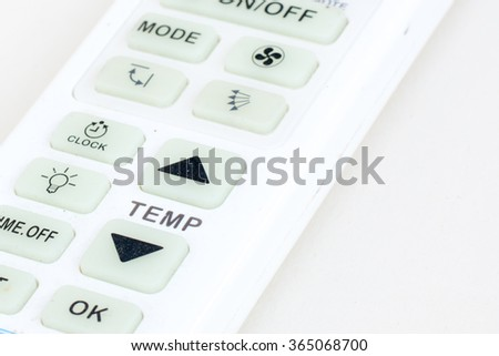 Air remote control on white background closeup