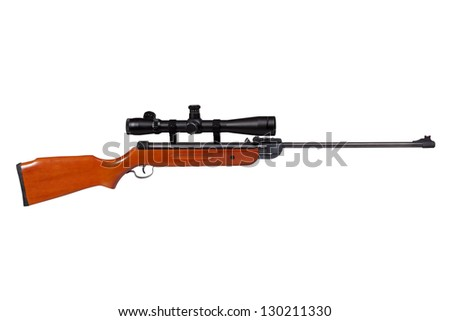 Air rifle isolated over white with clipping path - stock photo