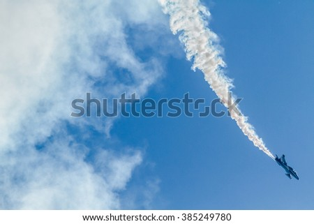 Air shows in Italy. Italian and french aerobatic patrols - stock photo