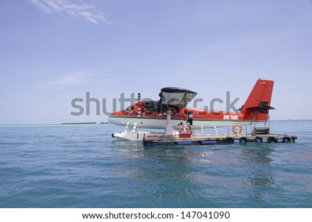 air taxi - Maldive Islands - stock photo