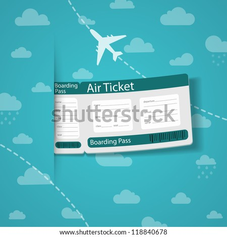 Air ticket on sky background. Check my portfolio for vector version. - stock photo
