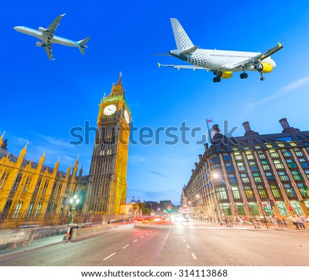 Air traffic above Westminster, London. Tourism concept. - stock photo