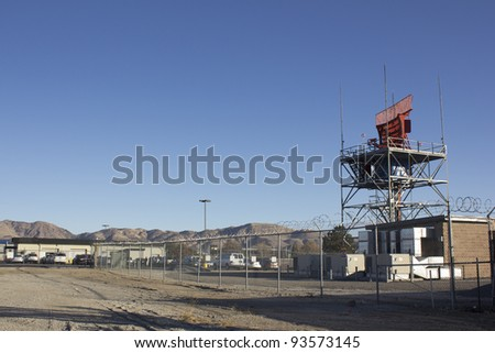 air-traffic control antenna with blue sky background
