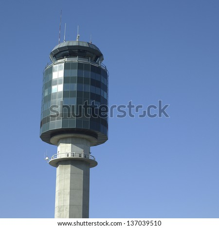 air traffic control tower and blue sky