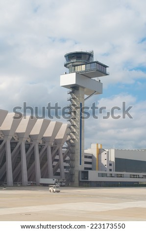 Air traffic control tower in the airport. - stock photo