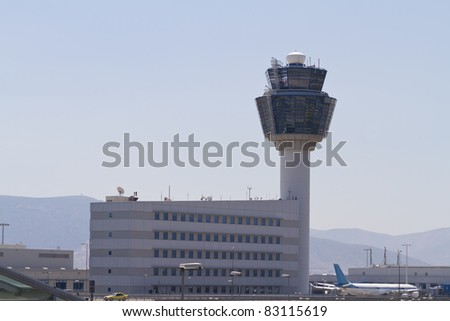Air Traffic Control Tower (TWR) from Athens International Airport Eleftherios Venizelos - stock photo