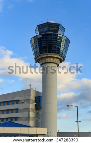 Air Traffic Control Tower (TWR) in Athens International Airport - Eleftherios Venizelos located at Spata. Attica - Greece