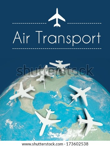 Air transport concept, airplanes on globe - stock photo