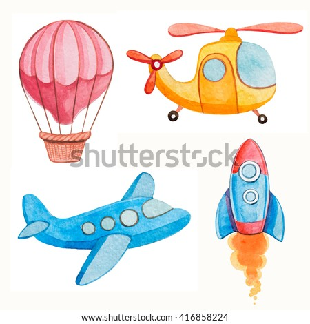air transport kids watercolor illustrations - stock photo