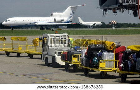 air transport luggage - stock photo
