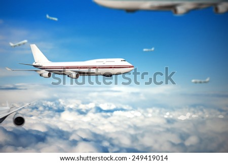 air transport. planes in the sky. travel by air transport. flying to the top of the airliner. nobody - stock photo