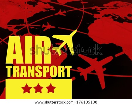 Air transport travel concept, airlines on world map - stock photo