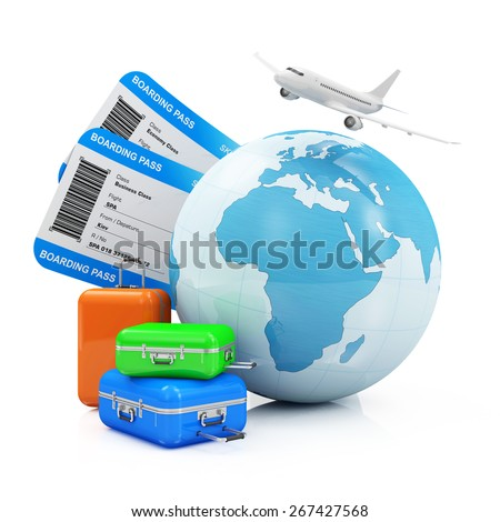 Air Travel and Vacation Concept. Earth Globe with Airline Boarding Pass Tickets, Luggage and Flying Passenger Airplane isolated on white background. ( Elements of this image furnished by NASA ) - stock photo