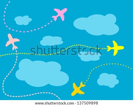 Air travel background - airline routes, sky and clouds illustration - stock photo