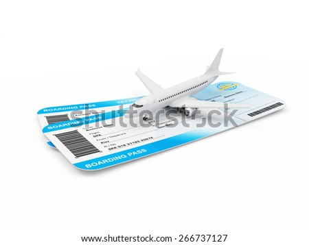 Air Travel Concept. Airline Boarding Pass Tickets with Modern Passenger Airplane isolated on white background. Passenger Airplane and Tickets of My Own Design