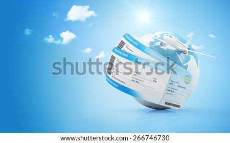 Air Travel Concept. Earth Globe with Airline Boarding Pass Tickets and Flying Passenger Airplane on gradient background with clouds and sun. ( Elements of this image furnished by NASA ) - stock photo