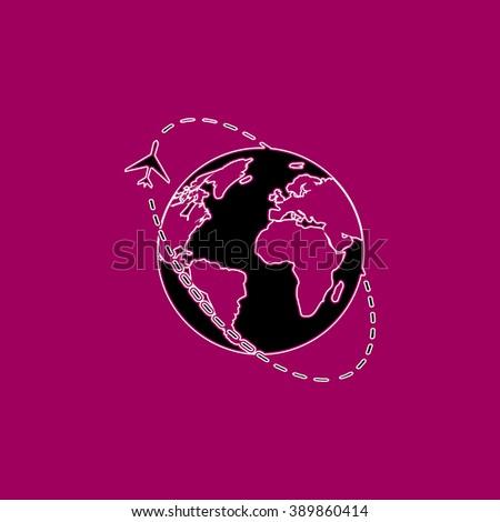 Air travel destination. Black simple flat icon with white stroke - stock photo