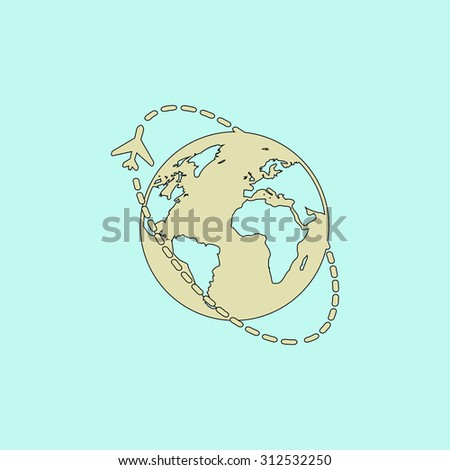 Air travel destination. Flat simple line icon. Retro color modern illustration pictogram. Collection concept symbol for infographic project and logo - stock photo