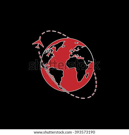 Air travel destination. flat symbol pictogram on black background. red simple icon with white stroke - stock photo