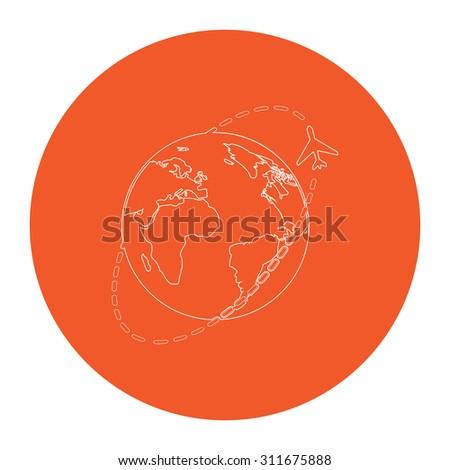 Air travel destination. Flat white symbol in the orange circle. Outline illustration icon - stock photo