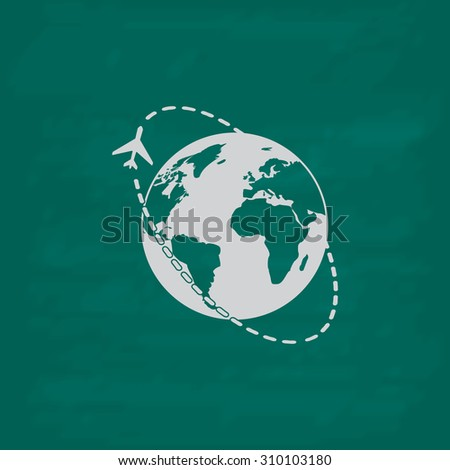 Air travel destination.  Icon. Imitation draw with white chalk on green chalkboard. Flat Pictogram and School board background. Illustration symbol - stock photo