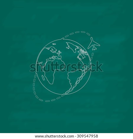 Air travel destination. Outline icon. Imitation draw with white chalk on green chalkboard. Flat Pictogram and School board background. Illustration symbol - stock photo