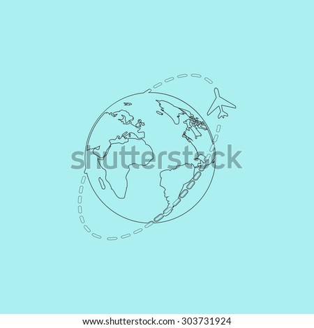 Air travel destination. Outline simple flat icon isolated on blue background - stock photo