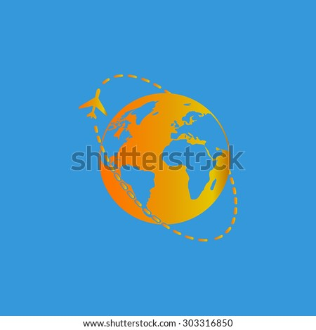 Air travel destination. Simple flat icon on blue background - stock photo