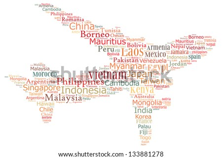 Air travel destinations - stock photo