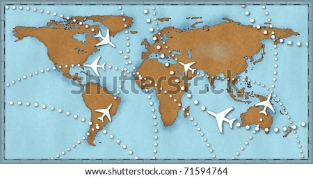 Air travel flight paths dotted lines on world map as commercial airline passenger jets fly air traffic - stock photo