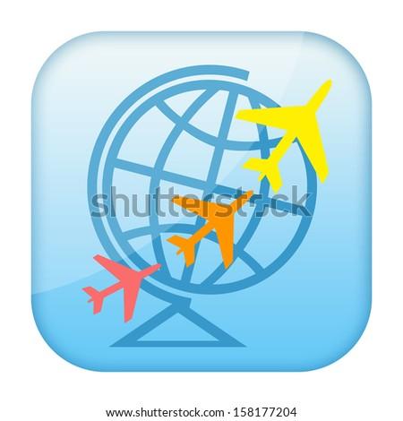 Air travel icon - stock photo