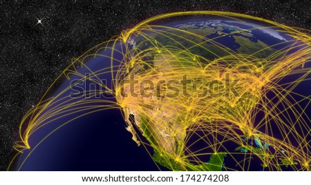 Air travel network over North America. Elements of this image furnished by NASA. - stock photo