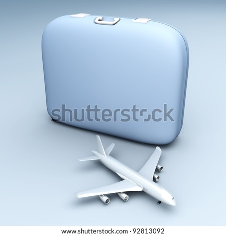 Air traveling. 3D rendered Illustration. Unbalanced lightning setup. - stock photo